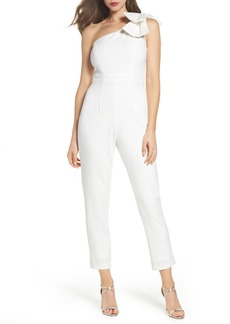 Adrianna Papell Bow One-Shoulder Jumpsuit
