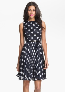 Adrianna Papell Burnout Polka Dot Fit & Flare Dress (Regular & Petite)