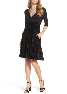 Adrianna Papell Burnout Velvet Wrap Dress