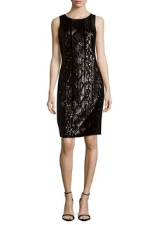 Cable-Sequin Sheath Dress