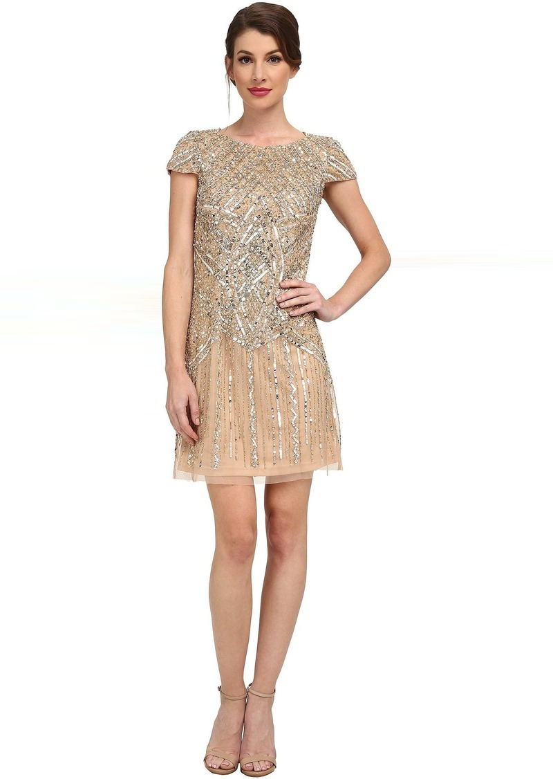Adrianna Papell Adrianna Papell Cap Sleeve Beaded Cocktail Dress ...