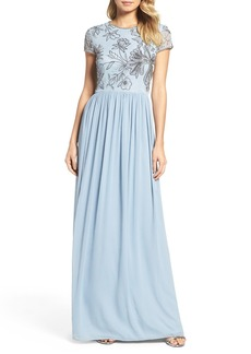 Adrianna Papell Cap Sleeve Embroidered Bodice Gown