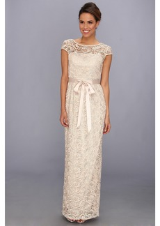 Adrianna Papell Cap Sleeve Lace Gown