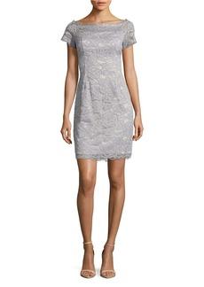 ADRIANNA PAPELL Cap-Sleeve Lace Sheath Dress
