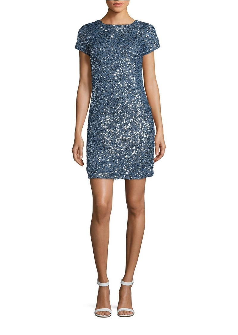ADRIANNA PAPELL Cap-Sleeve Sequined Sheath Dress