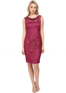 Adrianna Papell Cap Sleeve Sheath Dress with Beads