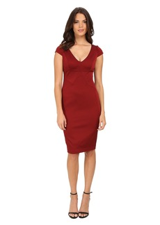 Adrianna Papell Cap Sleeve Stretch Ottoman Seamed Cocktail Dress w/ Exposed Back Zipper