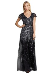 Adrianna Papell Cap Sleeve V-Neck Beaded Evening...