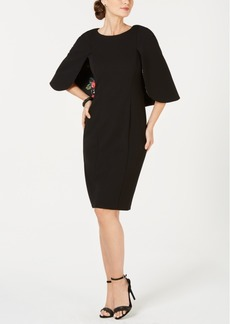 Adrianna Papell Cape-Sleeve Shift Dress