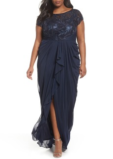 Adrianna Papell Cascading Lace & Tulle Gown (Plus Size)