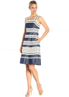 Adrianna Papell Chambray Fit and Flare Dress with Contrast Striped Lace Trims