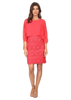 Adrianna Papell Chiffon Capelet Lace Sheath Dress