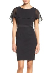 Adrianna Papell Chiffon Capelet Sheath Dress