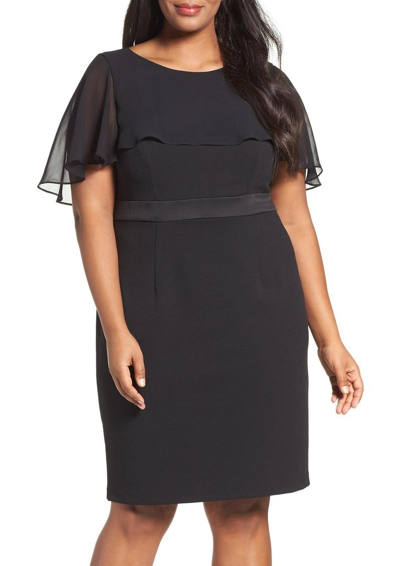 Adrianna Papell Chiffon Capelet Sheath Dress (Plus Size)