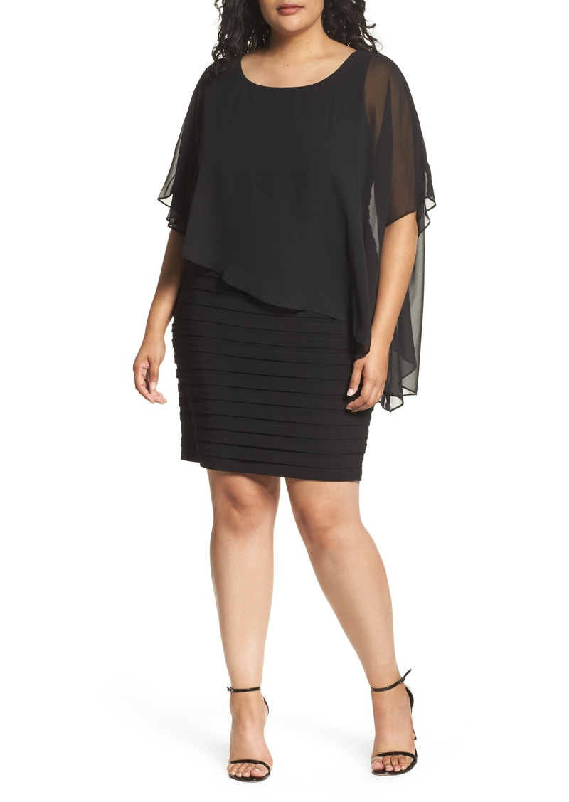 Adrianna Papell Adrianna Papell Chiffon Overlay Shutter Pleat Sheath Dress  (Plus Size) | Dresses
