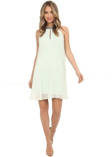 Adrianna Papell Chiffon Veiled Banded Sheath Dress