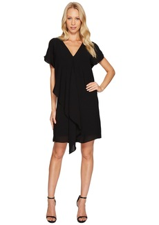 Adrianna Papell Cold Shoulder Asymmetrical Draped Dress
