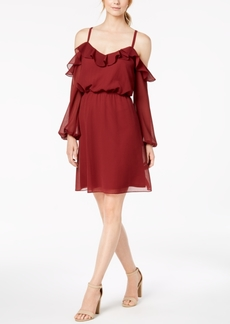 Adrianna Papell Cold-Shoulder Blouson Dress