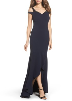Adrianna Papell Cold Shoulder Crepe Trumpet Gown
