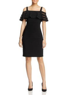 Adrianna Papell Cold-Shoulder Pintuck Dress