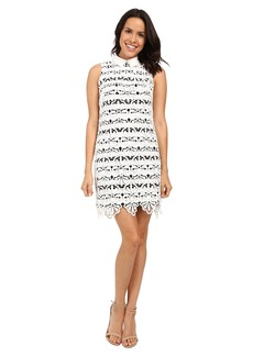 Adrianna Papell Collared Lace Shift Dress w/ Striped Lining