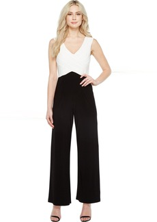 Adrianna Papell Color Blocked Matte Jersey Jumpsuit