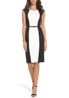 Adrianna Papell Colorblock Crepe Sheath Dress