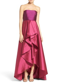 Adrianna Papell Colorblock Strapless Gown