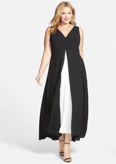 Adrianna Papell Colorblock V-Neck Jumpsuit (Plus Size)