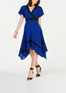 Adrianna Papell Colorblocked Handkerchief-Hem Dress