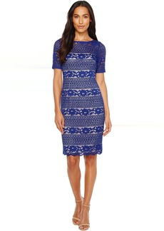 Adrianna Papell Corded Stripe Lace Dress