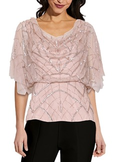 Adrianna Papell Cowlneck Embellished Blouson Top