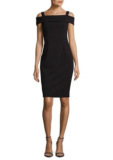 Adrianna Papell Crepe Cold- Shoulder Dress