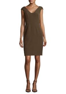 Adrianna Papell Crepe Sheath Olive Dress