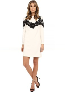 Adrianna Papell Crepe Shift Dress with Lace Applique Trim