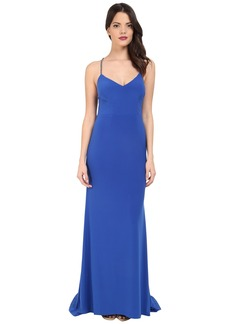 Adrianna Papell Crisscross Back Trim Jersey Mermaid Dress