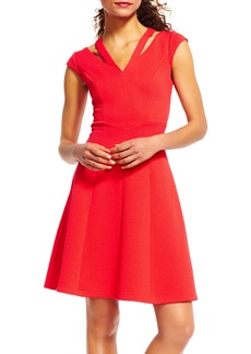 Adrianna Papell Cutout V-Neck Fit & Flare Dress