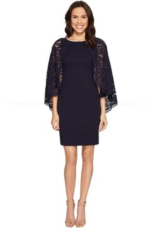 Adrianna Papell Cynthia Lace Cape Sheath Dress