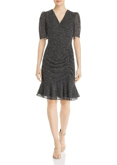 Adrianna Papell Darling Dot Shirred Mini Dress