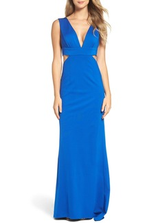Adrianna Papell Deep V Jersey Gown