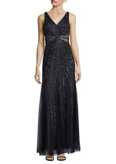 Adrianna Papell Deep V-Neck Beaded Floor-Length Dress