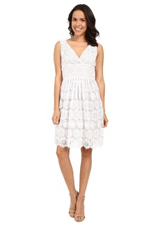 Adrianna Papell Deep V-Neck Fit & Flare Medallion Lace Dress