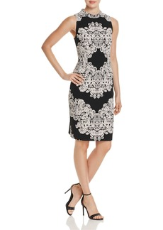Adrianna Papell Dolce Lace-Print Sheath Dress