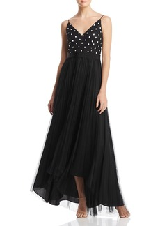 Adrianna Papell Dotted-Bodice Layered-Look Gown