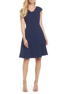 Adrianna Papell Drape Neck Fit & Flare Dress