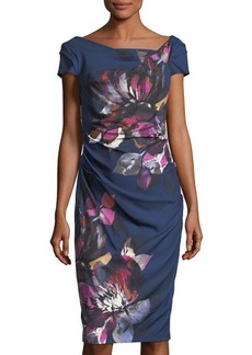 Adrianna Papell Draped Floral-Print Sheath Dress