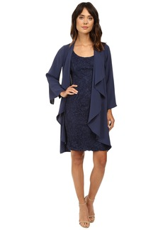 Adrianna Papell Draped Jacket w/ Scoop Lace Dress