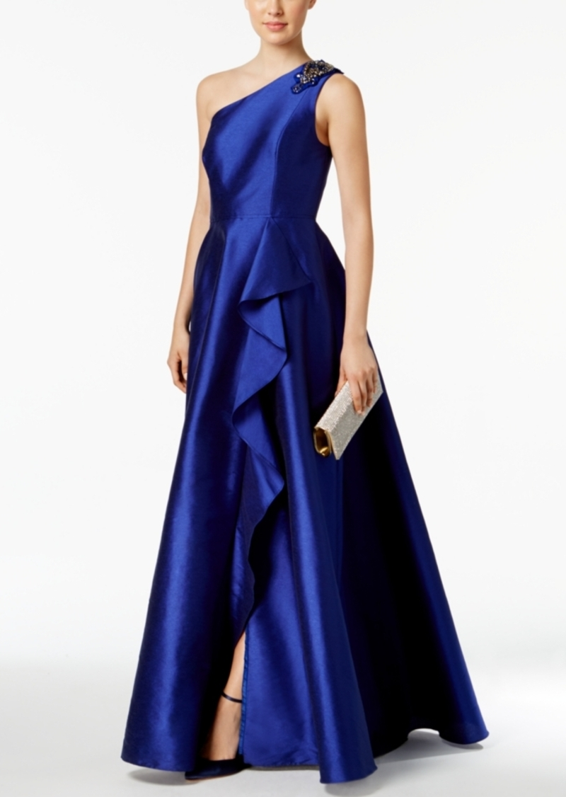 Adrianna Papell Adrianna Papell Draped One-Shoulder Faille Gown ...