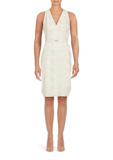 Adrianna Papell Effie Embroidered Lace Sheath Dress