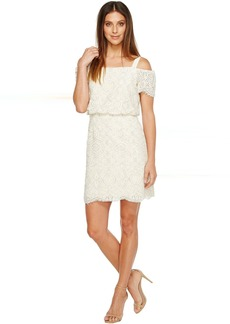 Adrianna Papell Ella Mosaic Lace Off the Shoulder Sheath Dress with Blouson Bodice